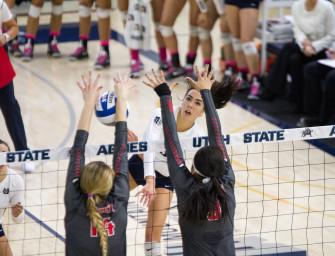 Aggie volleyball drops five-set heartbreaker to UNLV