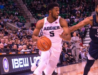 Aggie men's basketball falls to in-state rival BYU 77-63 at Vivint Arena